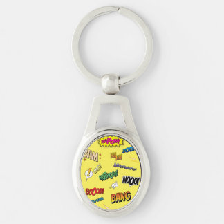 Comic Book Silver-Colored Oval Key Ring