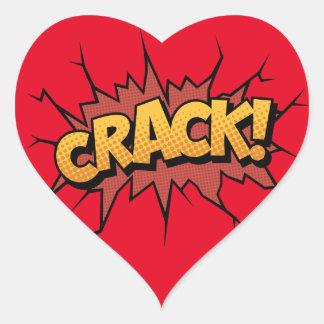 Comic Book Sound Effect - Crack! Pop Art Heart Sticker