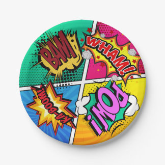 Comic Book Sound Effects Paper Plate