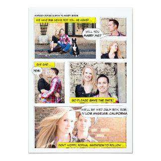 Comic Book Strip Save the Date 13 Cm X 18 Cm Invitation Card