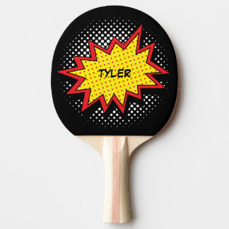 Comic Book Style Colorful Name Black Ping Pong Paddle