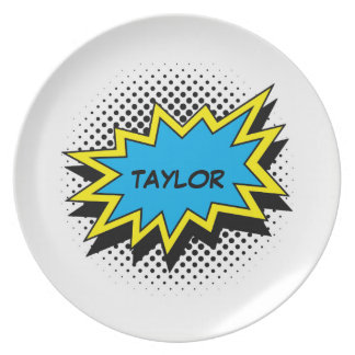 Comic Book Style Colorful Name Blue Plate