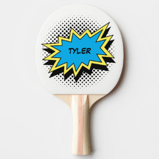 Comic Book Style Colorful Name White Ping Pong Paddle