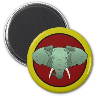 comic book style elephant logo 6 cm round magnet