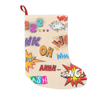 Comic Book Style Expressions Design Small Christmas Stocking