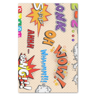 Comic Book Style Expressions Design Tissue Paper