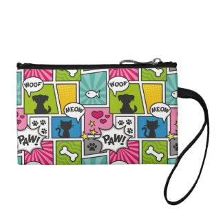 Comic Book Style Pet Pattern Coin Purse