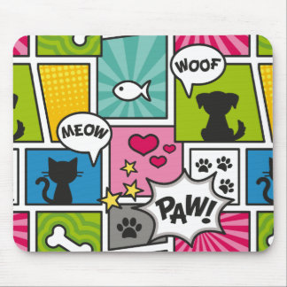Comic Book Style Pet Pattern Mouse Pad