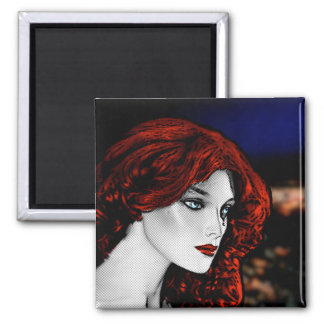 Comic Book Style Redhead Square Magnet