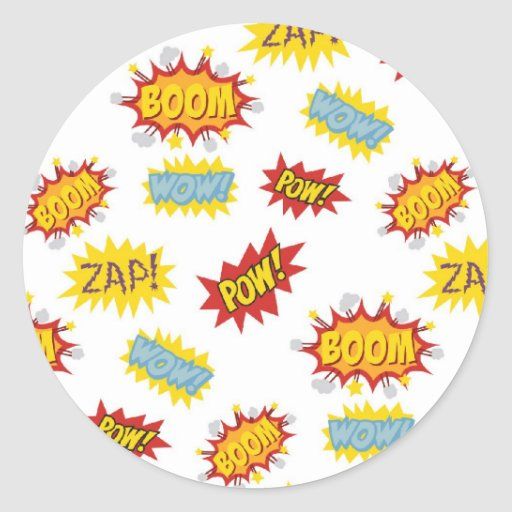 Comic book style sound effect pattern round stickers