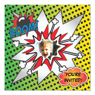 Comic Book Superhero Birthday Party Photo Card