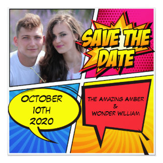 Comic Book Superhero Save The Date Card