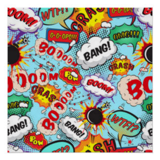Comic Book Text & Word Bubbles Poster