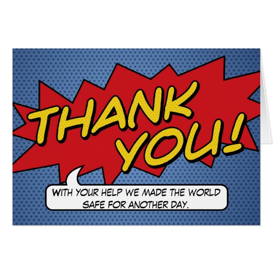 Comic Book Thank You Card