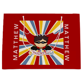 Comic Book Theme in Red for a Superhero Boy Large Gift Bag