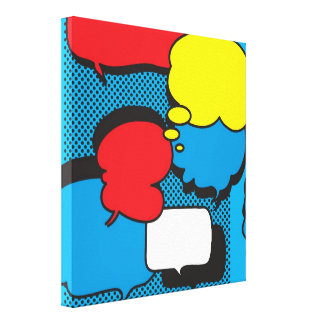 Comic Book Thought Bubbles Stretched Canvas Prints