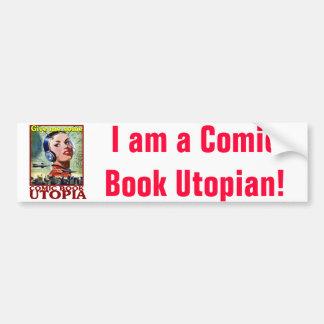 Comic Book Utopia Retro 2 Bumper Sticker Car Bumper Sticker