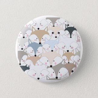 Comic cartoon cute fox or wolf pattern 6 cm round badge