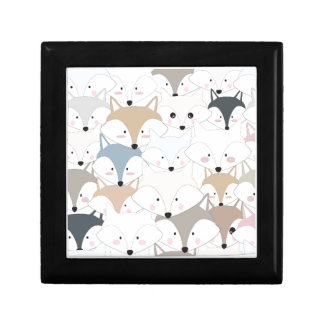 Comic cartoon cute fox or wolf pattern gift box