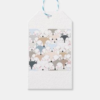 Comic cartoon cute fox or wolf pattern gift tags