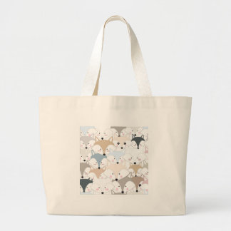 Comic cartoon cute fox or wolf pattern large tote bag