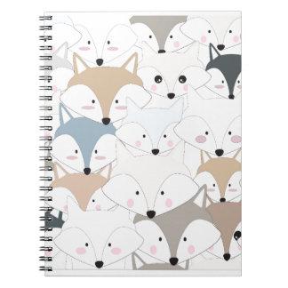 Comic cartoon cute fox or wolf pattern notebooks