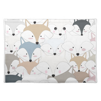 Comic cartoon cute fox or wolf pattern placemat