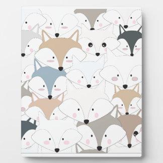 Comic cartoon cute fox or wolf pattern plaque