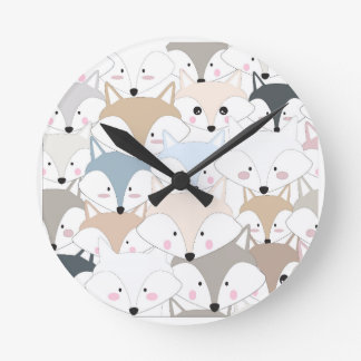 Comic cartoon cute fox or wolf pattern round clock