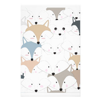 Comic cartoon cute fox or wolf pattern stationery