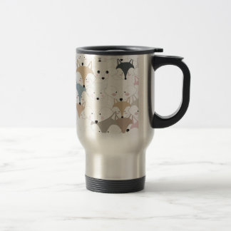 Comic cartoon cute fox or wolf pattern travel mug