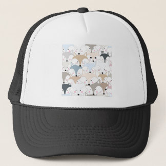 Comic cartoon cute fox or wolf pattern trucker hat