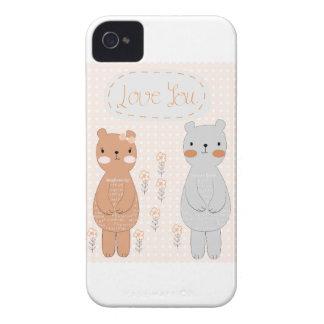 Comic cartoon cute valentine couple teddy bear Case-Mate iPhone 4 case