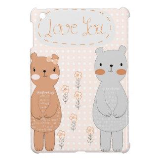 Comic cartoon cute valentine couple teddy bear cover for the iPad mini