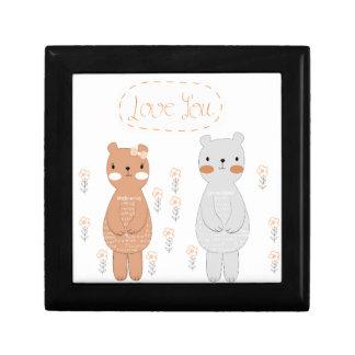 Comic cartoon cute valentine couple teddy bear gift box