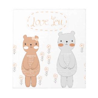 Comic cartoon cute valentine couple teddy bear notepad