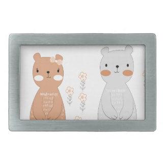 Comic cartoon cute valentine couple teddy bear rectangular belt buckle