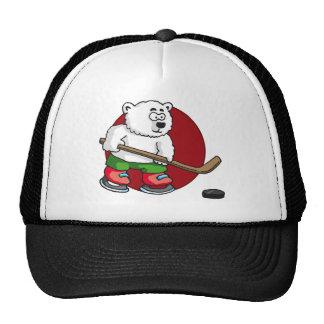 comic cartoon polar bear hockey more player trucker hats