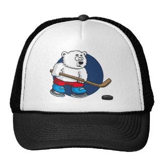 comic cartoon polar bear hockey more player mesh hat