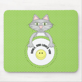 Comic Cat Smile God Loves You Mousepad