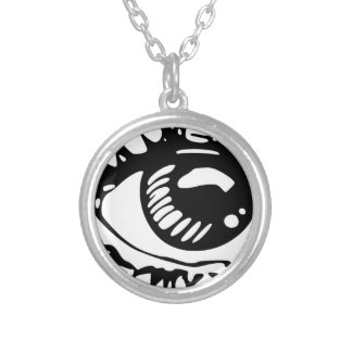 Comic Eye Silver Plated Necklace