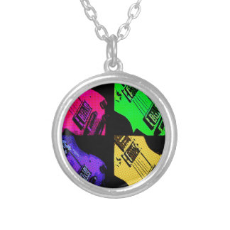 COMIC GUITAR ART SILVER PLATED NECKLACE