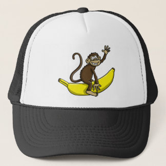 comic monkey banana cowboy sheriff trucker hat