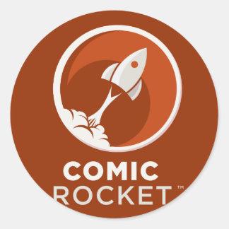 Comic Rocket Logo- Dark Classic Round Sticker