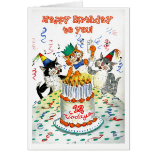 Comic Singing Cats Age-specific 12th Birthday Card