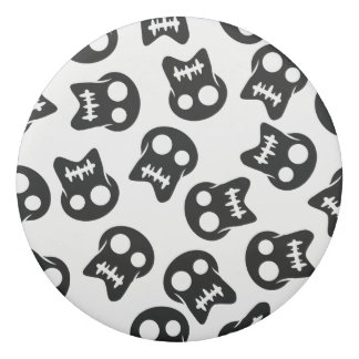 Comic Skull black pattern Eraser