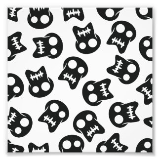 Comic Skull black pattern Photo Print