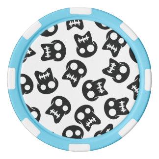 Comic Skull black pattern Poker Chips