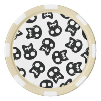 Comic Skull black pattern Poker Chips