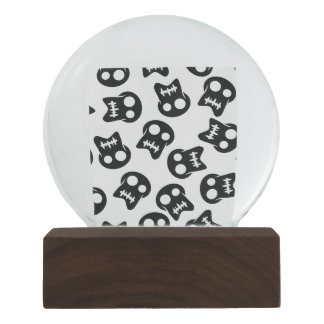Comic Skull black pattern Snow Globe